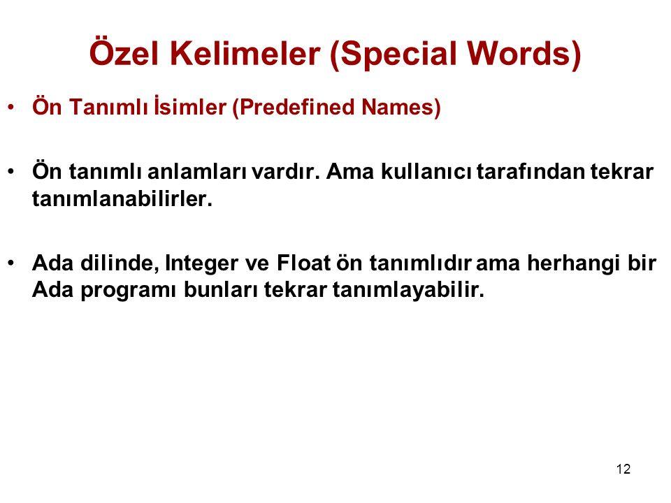 Özel Kelimeler (Special Words)