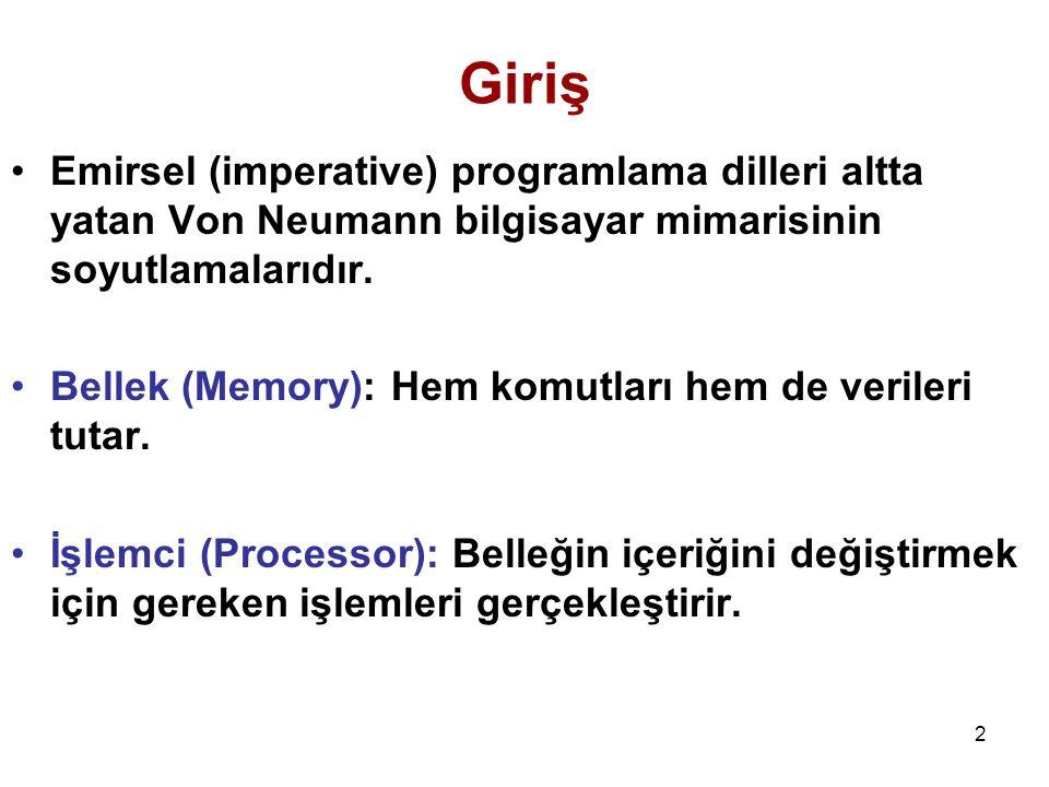 Giriş Emirsel (imperative) programlama dilleri altta yatan Von Neumann bilgisayar mimarisinin soyutlamalarıdır.