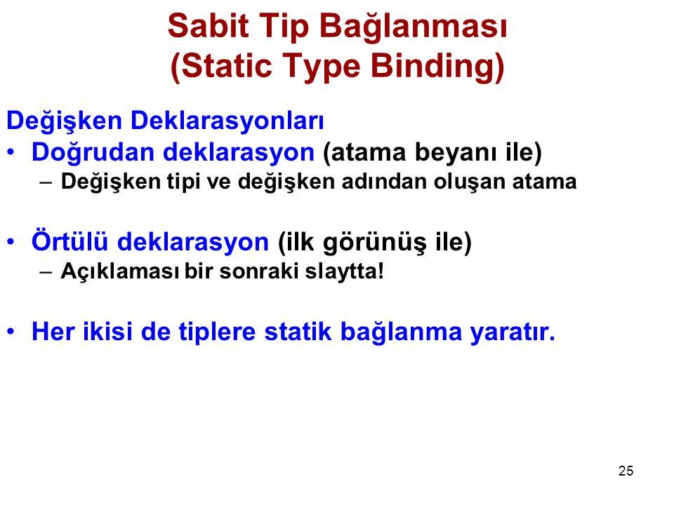 Sabit Tip Bağlanması (Static Type Binding)