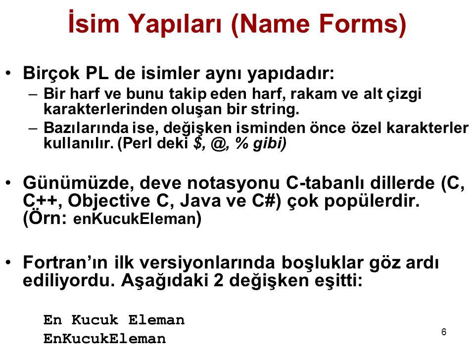 İsim Yapıları (Name Forms)