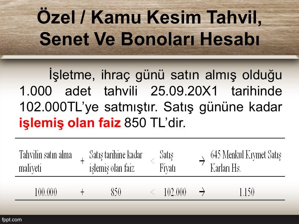 Özel / Kamu Kesim Tahvil, Senet Ve Bonoları Hesabı