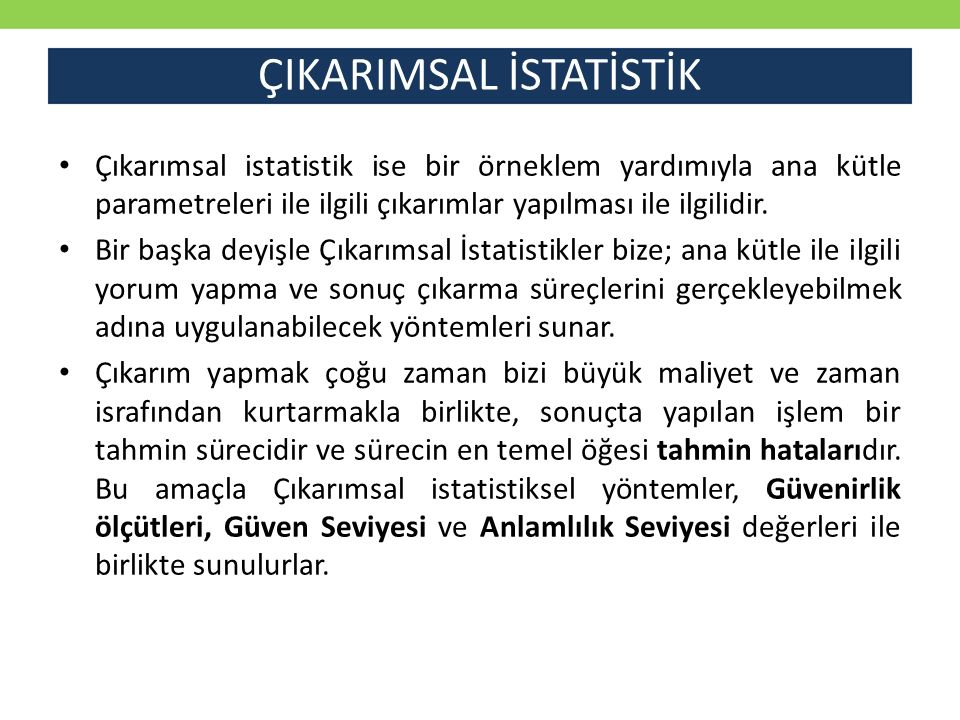 ÇIKARIMSAL İSTATİSTİK