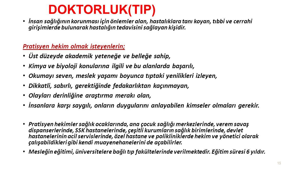 DOKTORLUK(TIP) Pratisyen hekim olmak isteyenlerin;