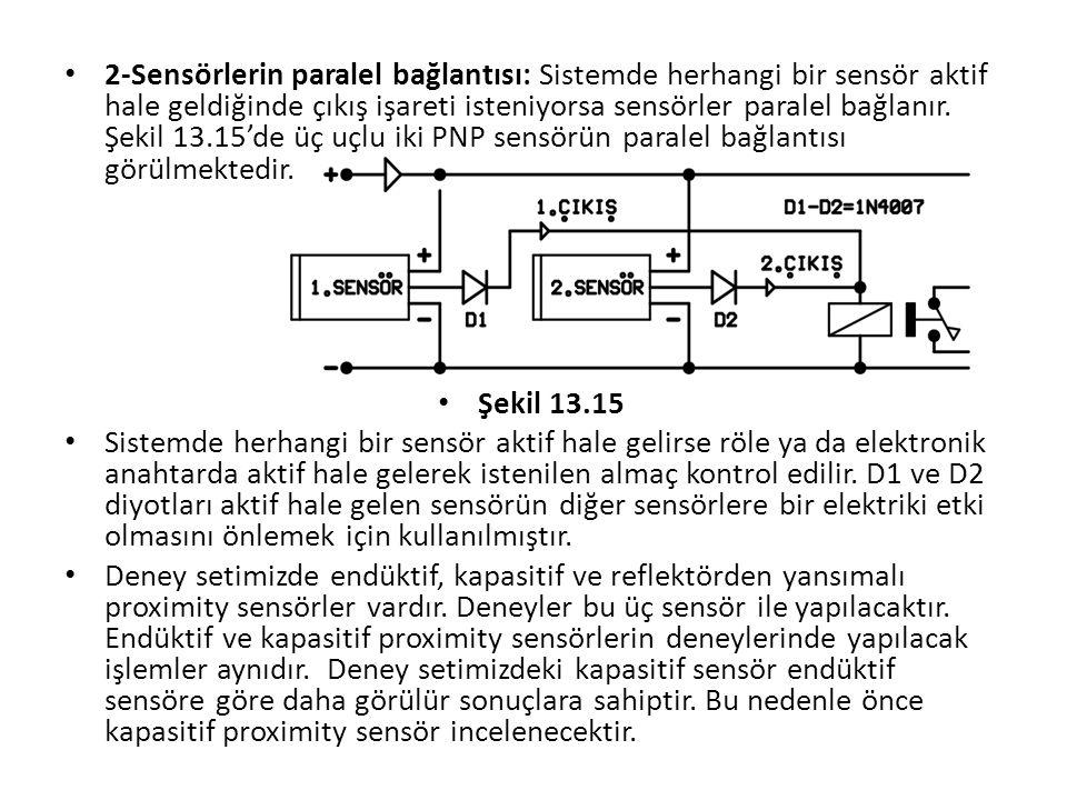 2-Sensörlerin paralel bağlantısı: Sistemde herhangi bir sensör aktif hale geldiğinde çıkış işareti isteniyorsa sensörler paralel bağlanır. Şekil 13.15'de üç uçlu iki PNP sensörün paralel bağlantısı görülmektedir.