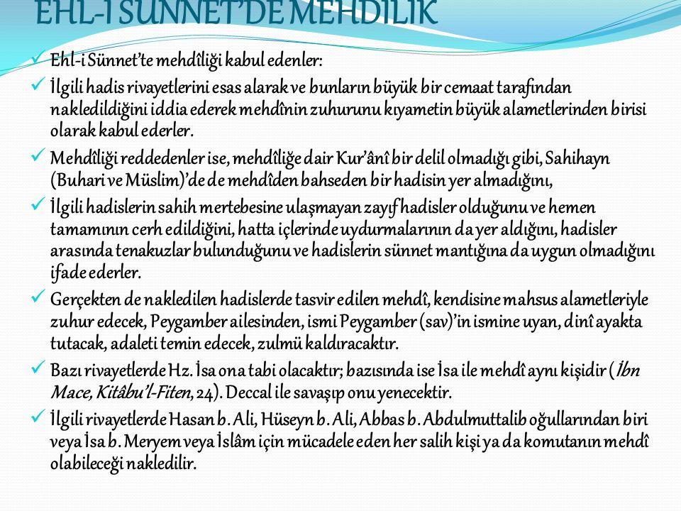 EHL-İ SÜNNET'DE MEHDİLİK