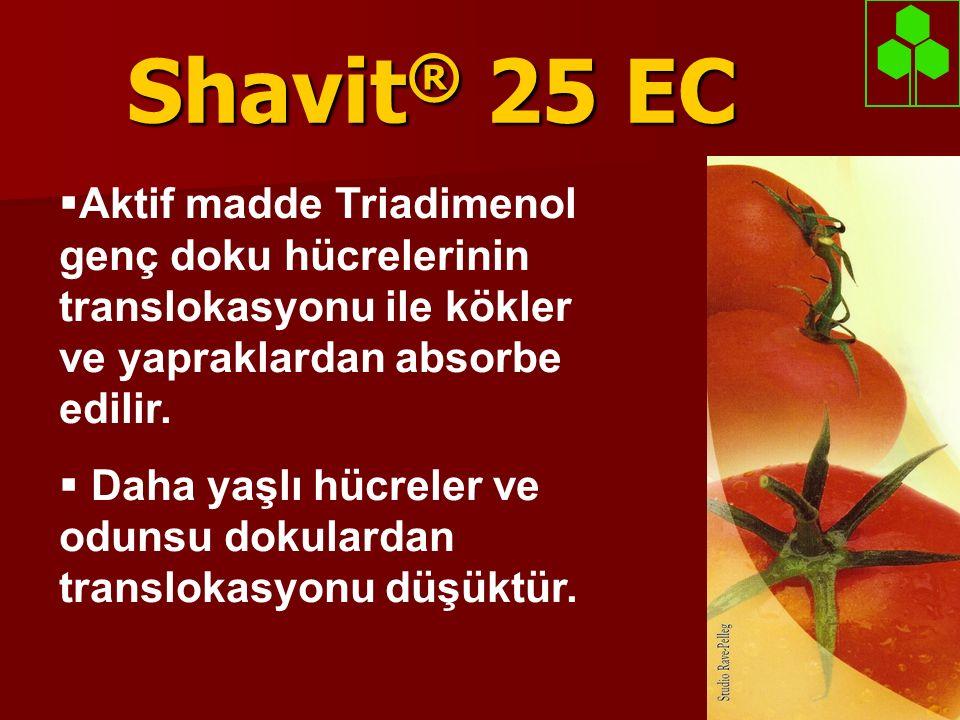 Shavit® 25 EC Aktif madde Triadimenol genç doku hücrelerinin translokasyonu ile kökler ve yapraklardan absorbe edilir.