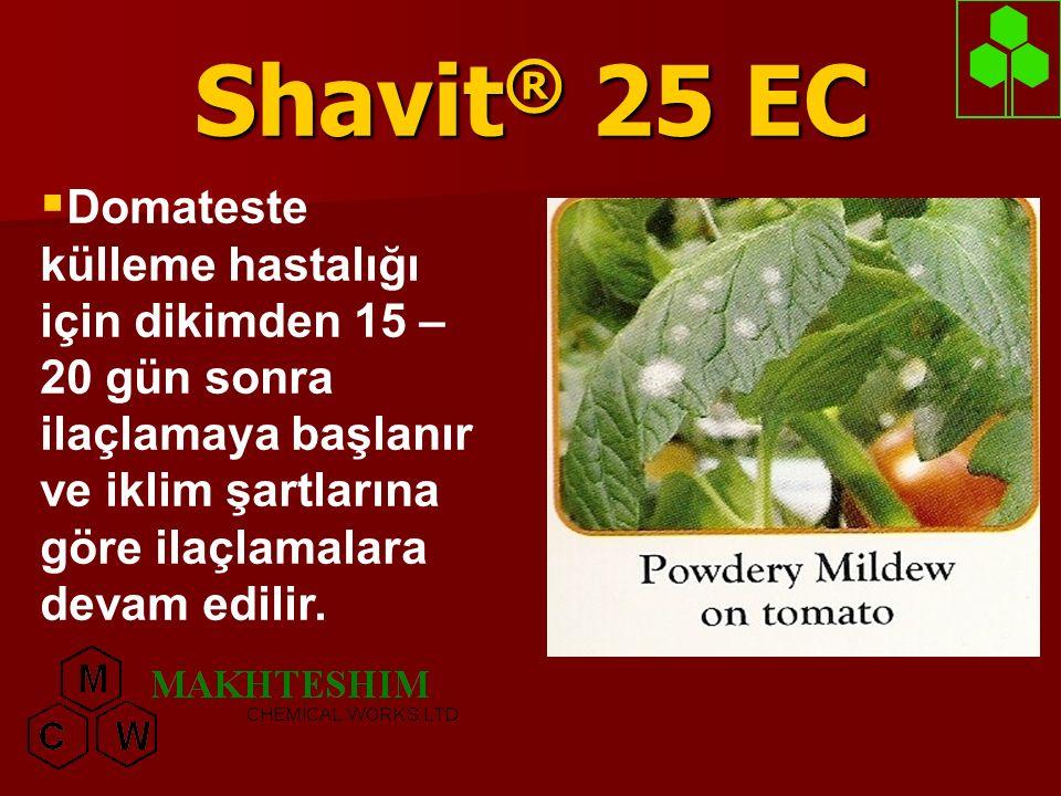 Shavit® 25 EC Domateste külleme hastalığı için dikimden 15 – 20 gün sonra ilaçlamaya başlanır ve iklim şartlarına göre ilaçlamalara devam edilir.