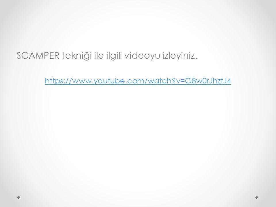 SCAMPER tekniği ile ilgili videoyu izleyiniz.