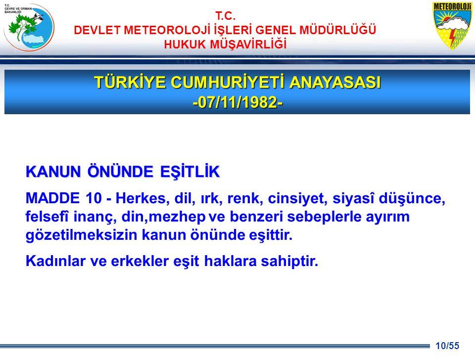 TÜRKİYE CUMHURİYETİ ANAYASASI -07/11/1982-