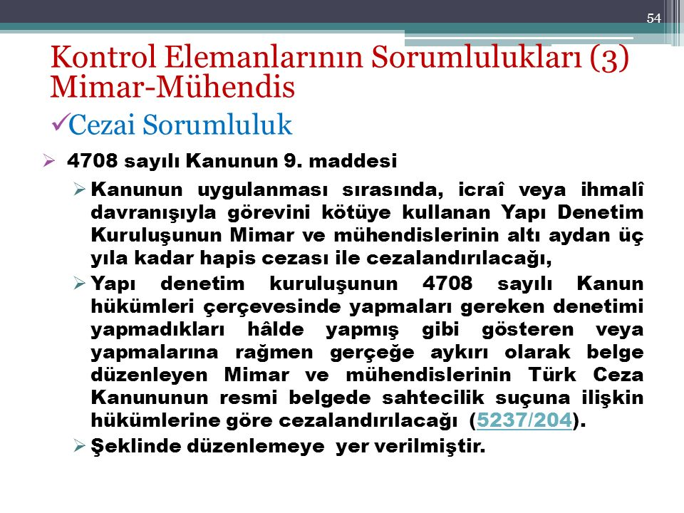 Kontrol Elemanlarının Sorumlulukları (3) Mimar-Mühendis