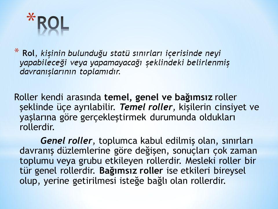 ROL Rol, kişinin bulunduğu statü sınırları içerisinde neyi yapabileceği veya yapamayacağı şeklindeki belirlenmiş davranışlarının toplamıdır.