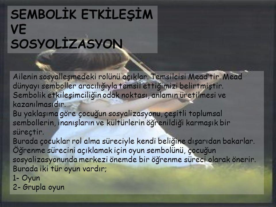 SEMBOLİK ETKİLEŞİM VE SOSYOLİZASYON