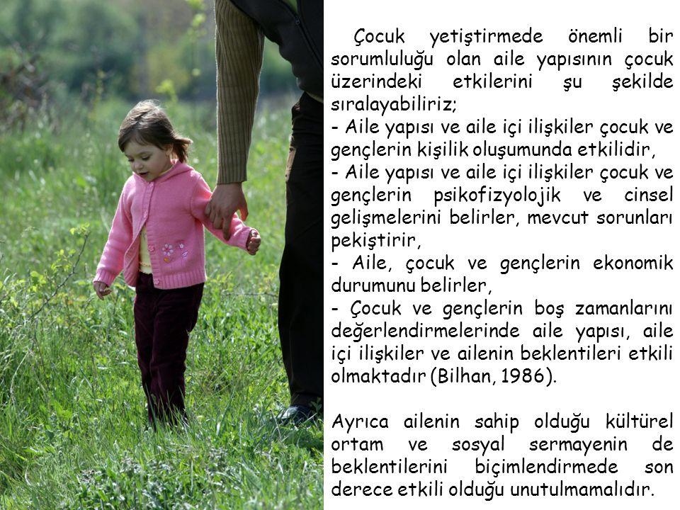 Çocuk yetiştirmede önemli bir sorumluluğu olan aile yapısının çocuk üzerindeki etkilerini şu şekilde sıralayabiliriz;