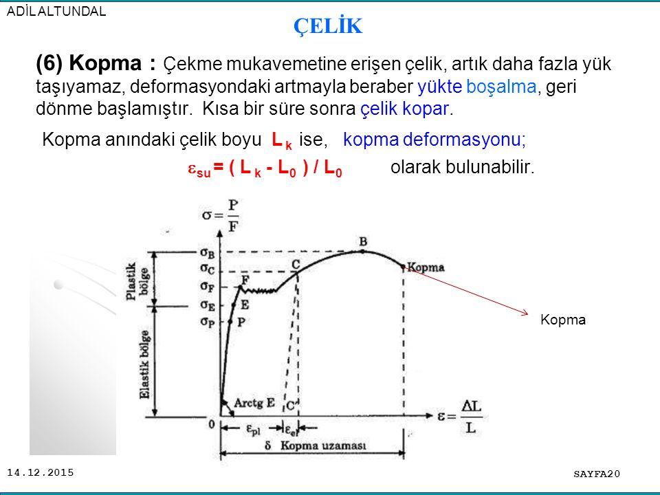 Kopma anındaki çelik boyu L k ise, kopma deformasyonu;