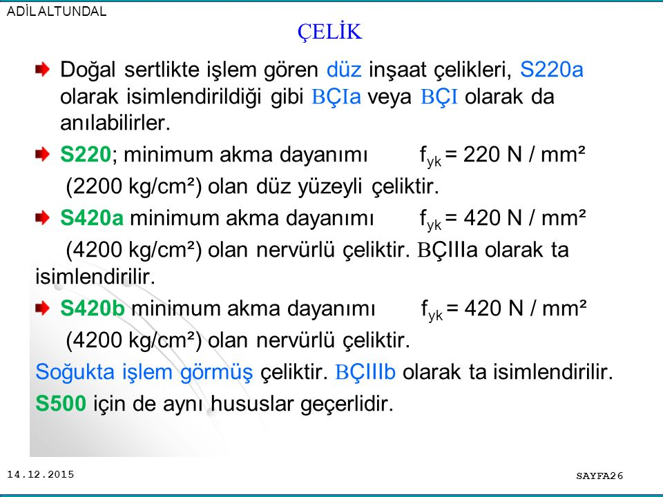 S220; minimum akma dayanımı fyk = 220 N / mm²
