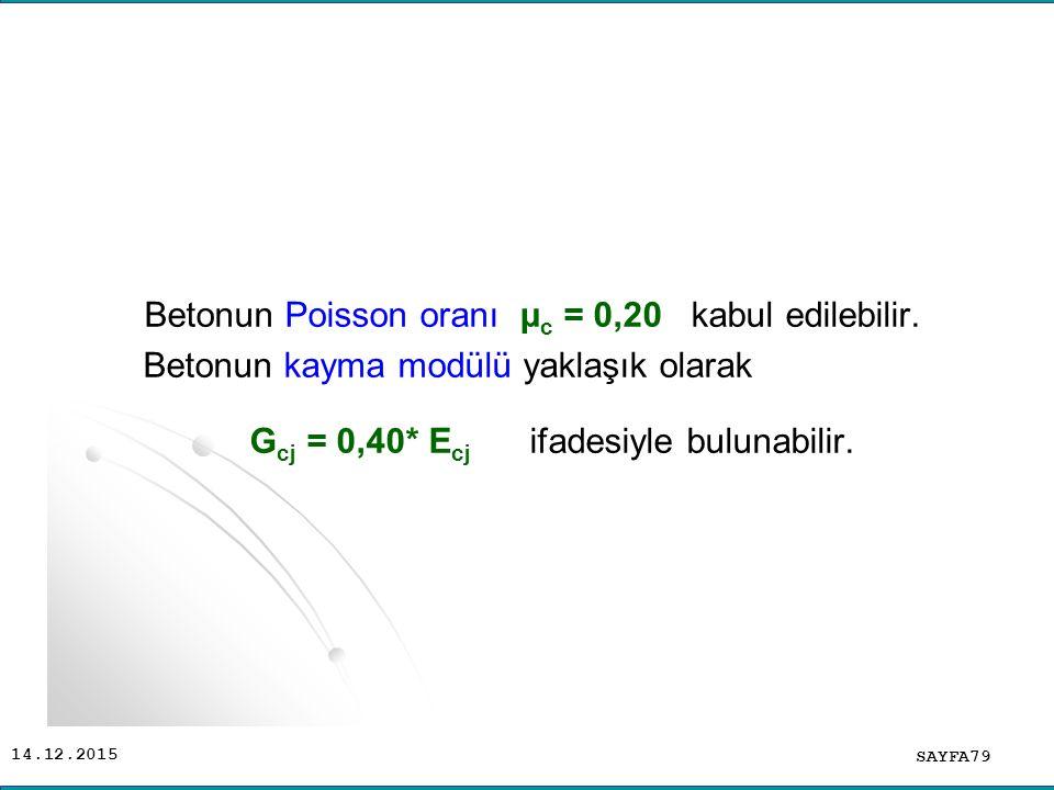 Betonun Poisson oranı μc = 0,20 kabul edilebilir