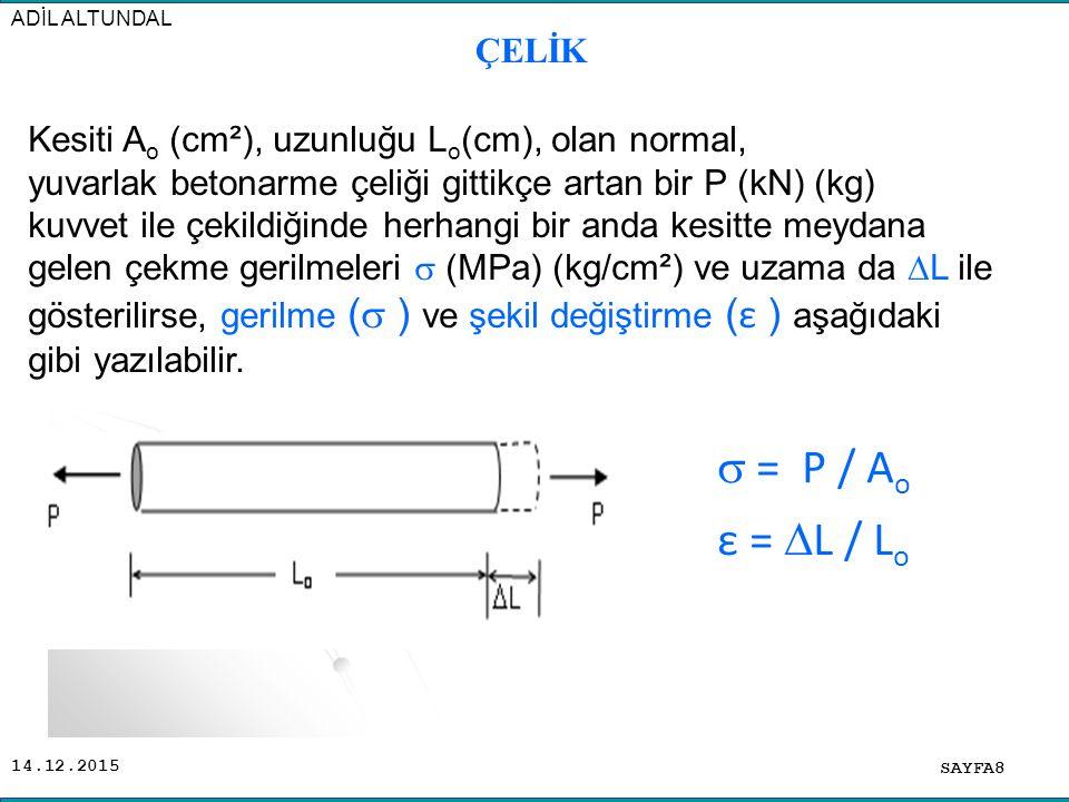 ADİL ALTUNDAL ÇELİK. Kesiti Ao (cm²), uzunluğu Lo(cm), olan normal,