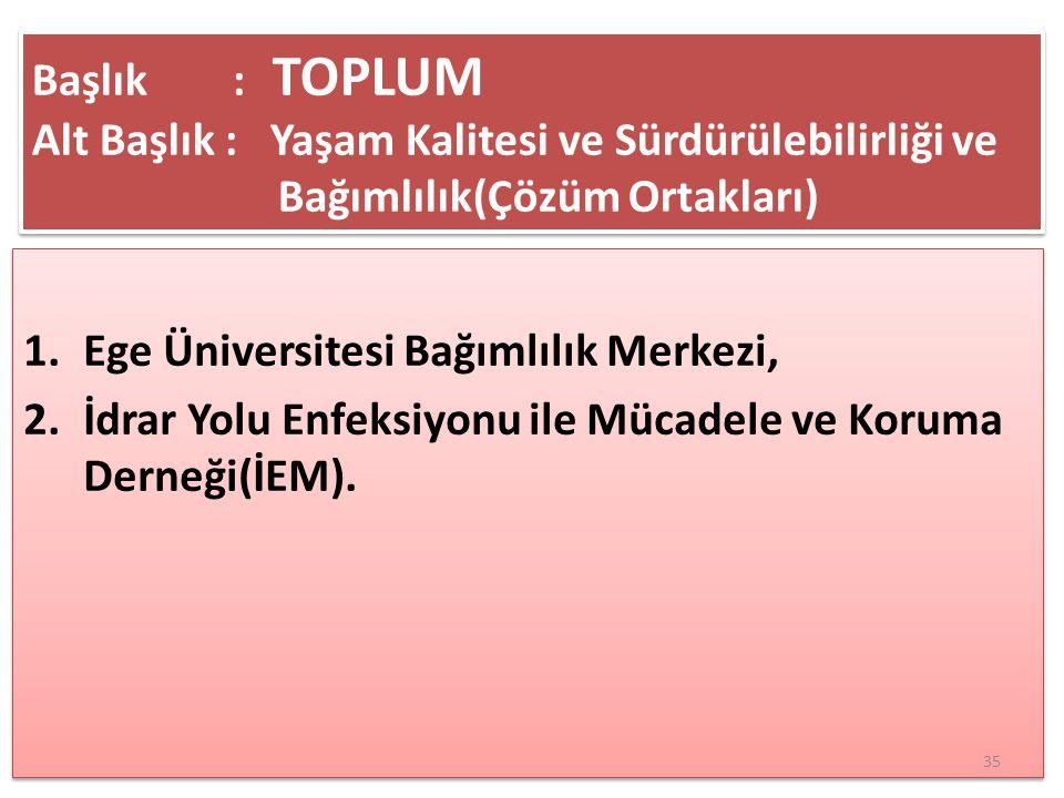 Başlık : TOPLUM Alt Başlık : Yaşam Kalitesi ve Sürdürülebilirliği ve Bağımlılık(Çözüm Ortakları)