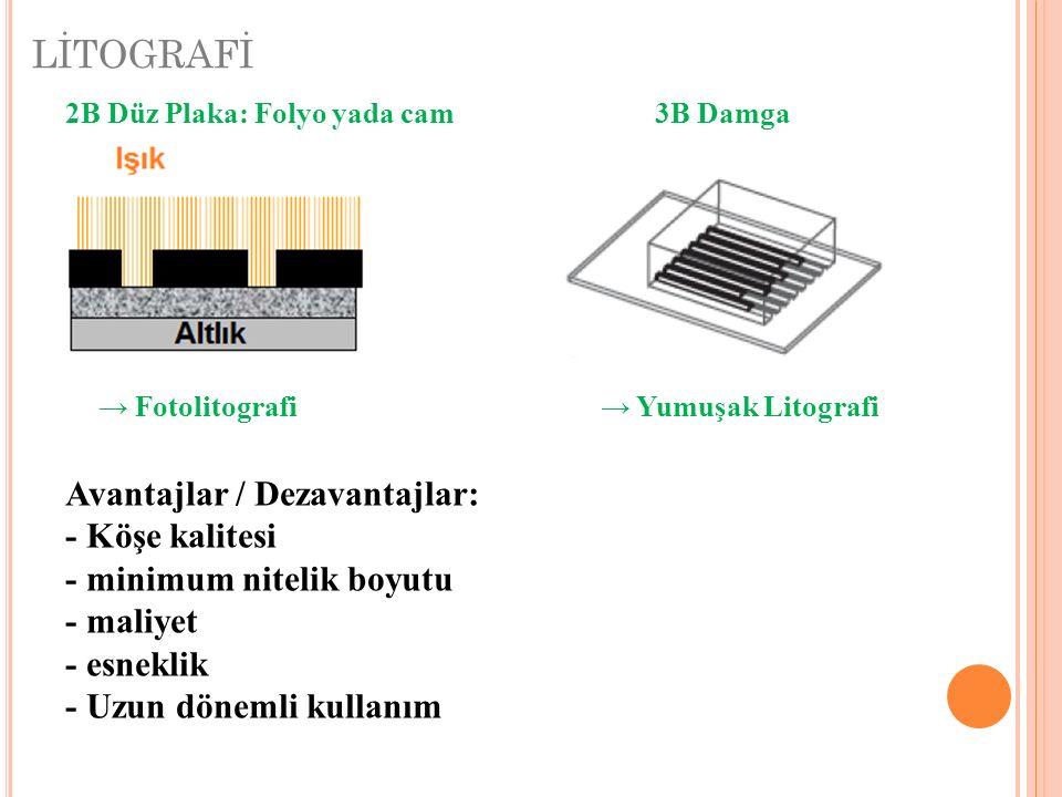 LİTOGRAFİ Avantajlar / Dezavantajlar: - Köşe kalitesi