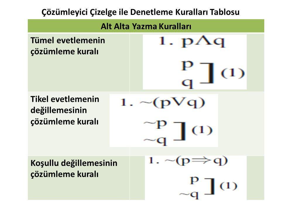 Çözümleyici Çizelge ile Denetleme Kuralları Tablosu