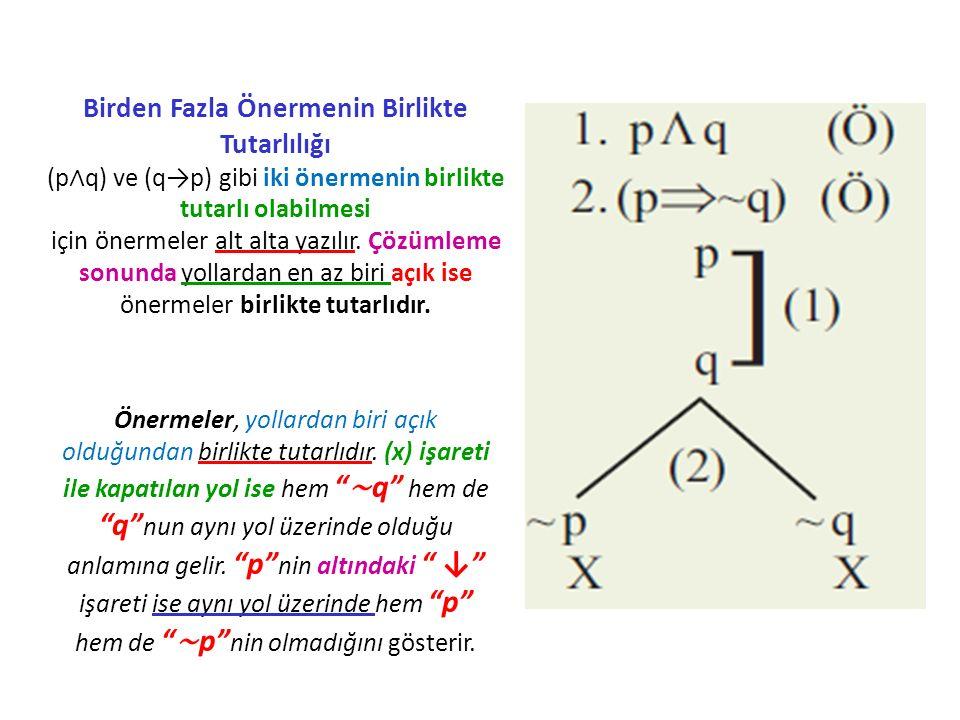 Birden Fazla Önermenin Birlikte Tutarlılığı (p∧q) ve (q→p) gibi iki önermenin birlikte tutarlı olabilmesi için önermeler alt alta yazılır. Çözümleme sonunda yollardan en az biri açık ise önermeler birlikte tutarlıdır.