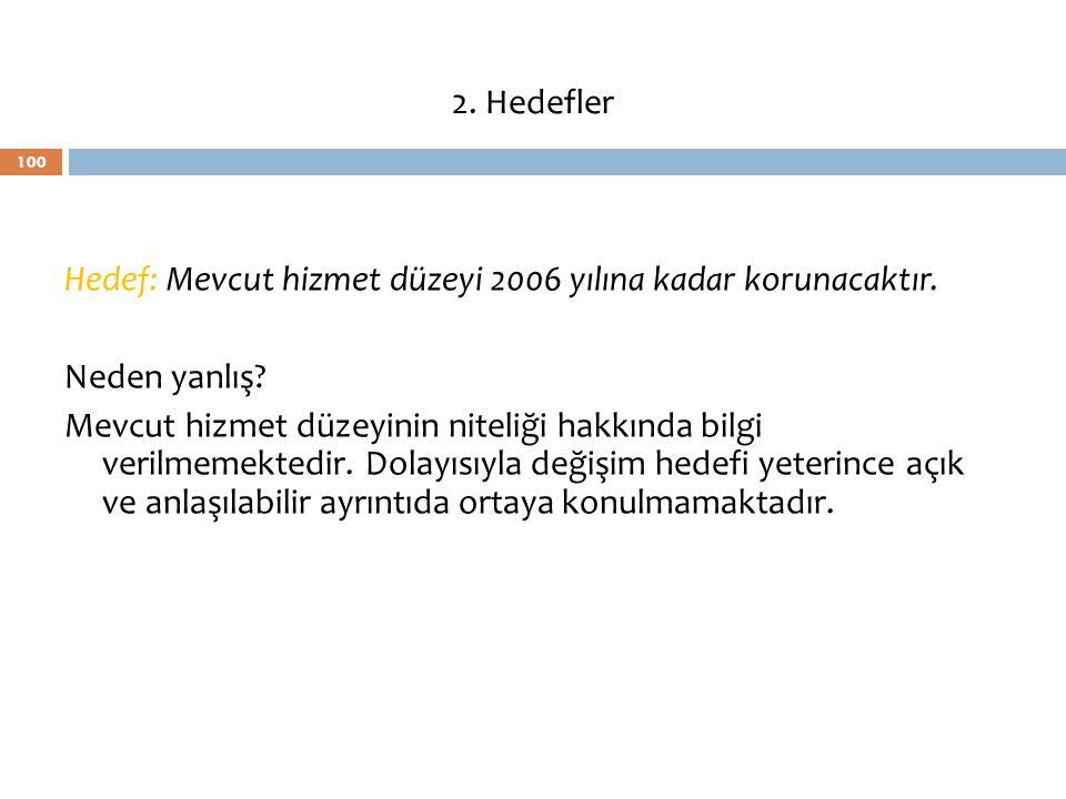 2. Hedefler Hedef: Mevcut hizmet düzeyi 2006 yılına kadar korunacaktır. Neden yanlış