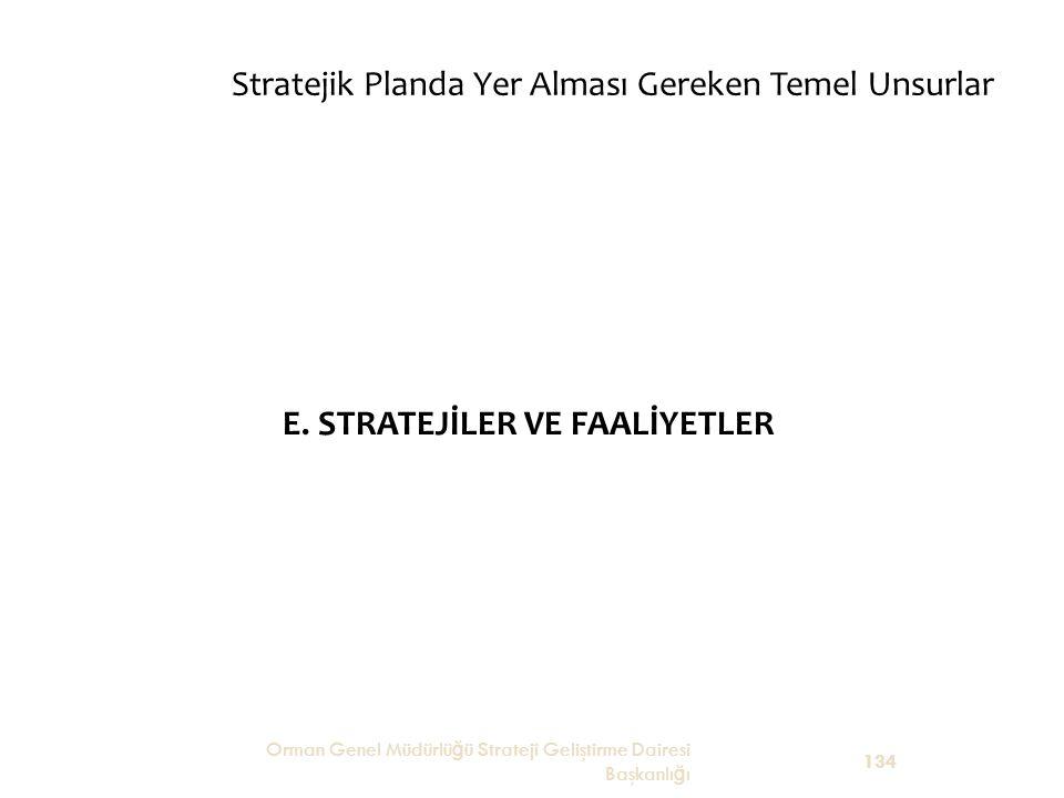 E. STRATEJİLER VE FAALİYETLER