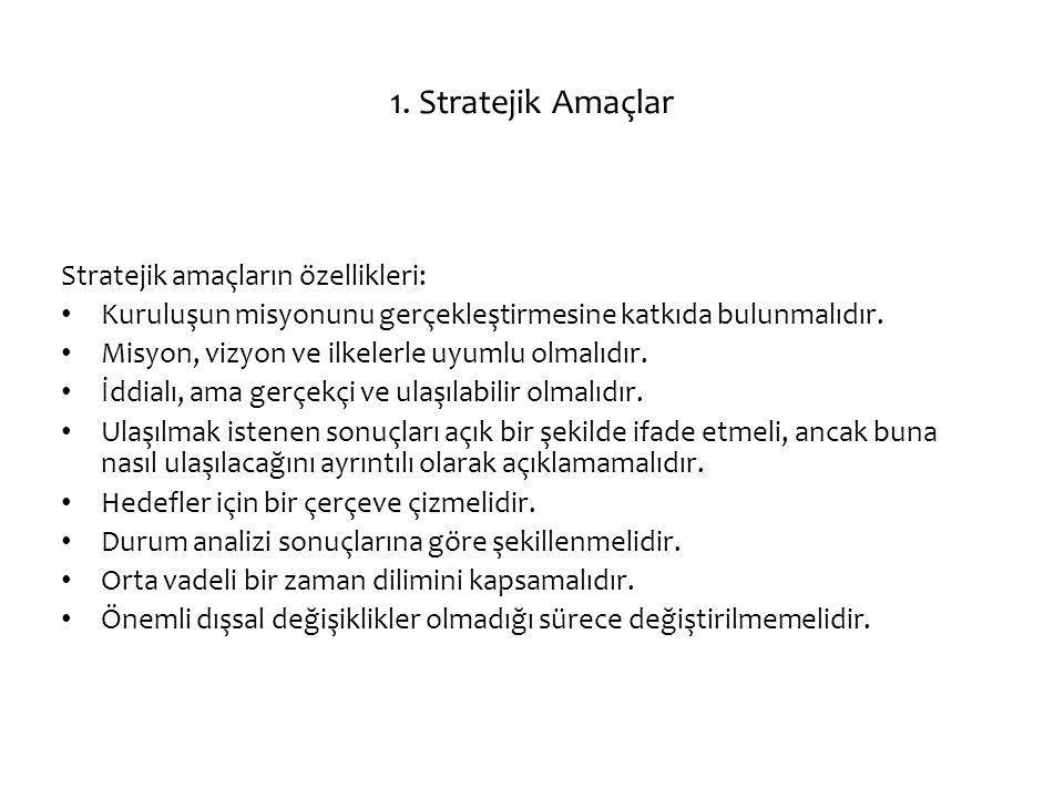1. Stratejik Amaçlar Stratejik amaçların özellikleri: