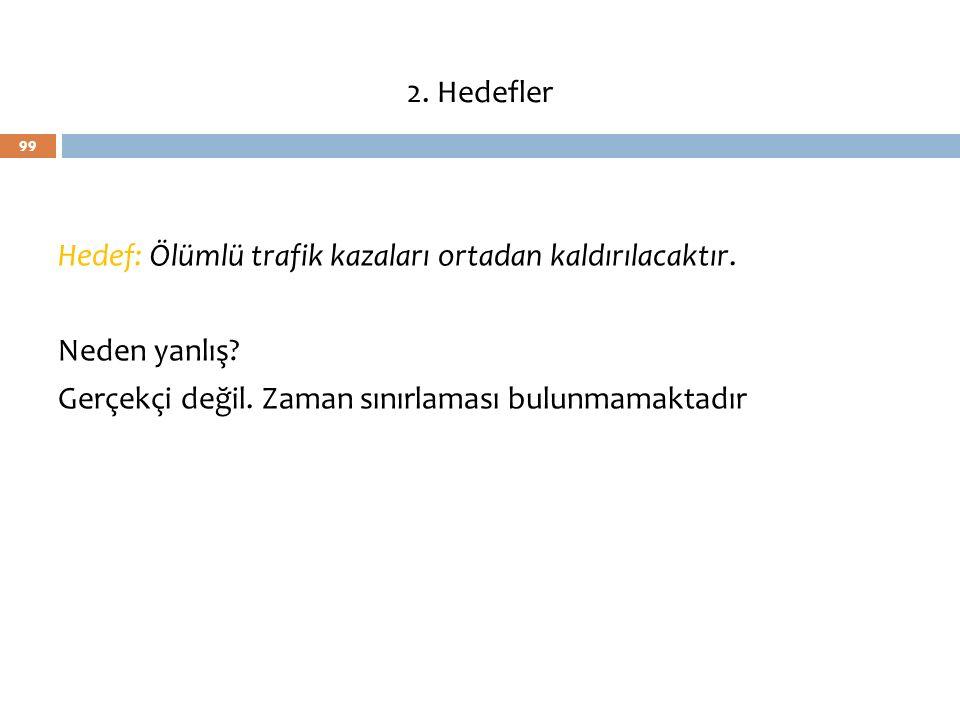 2. Hedefler Hedef: Ölümlü trafik kazaları ortadan kaldırılacaktır.