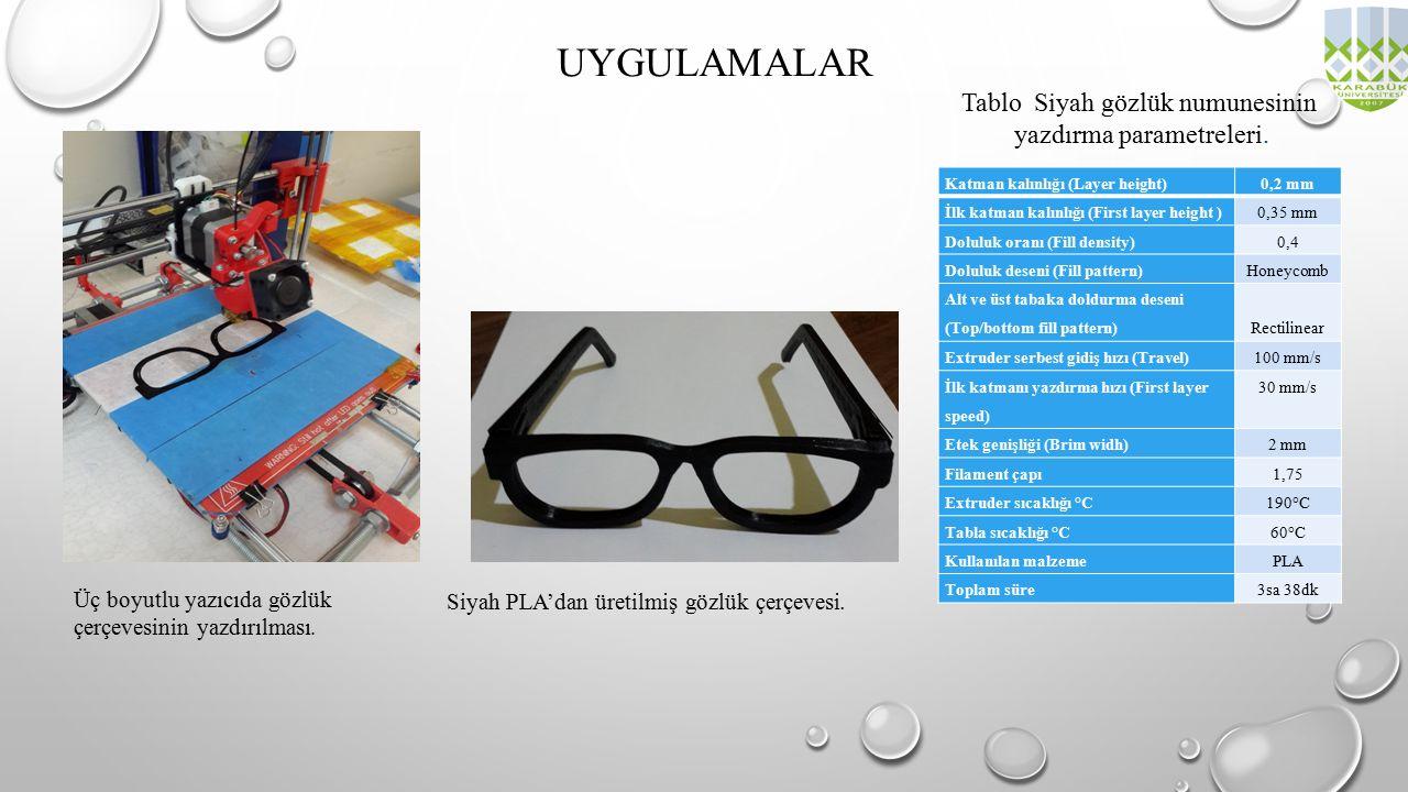 UYGULAMALAR Tablo Siyah gözlük numunesinin yazdırma parametreleri.