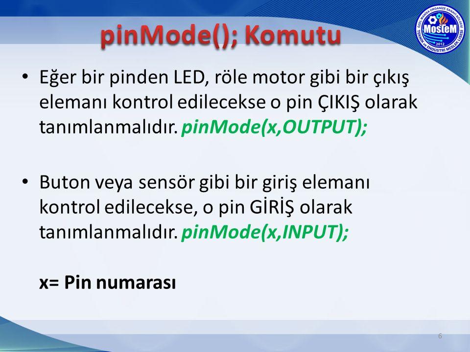 pinMode(); Komutu Eğer bir pinden LED, röle motor gibi bir çıkış elemanı kontrol edilecekse o pin ÇIKIŞ olarak tanımlanmalıdır. pinMode(x,OUTPUT);