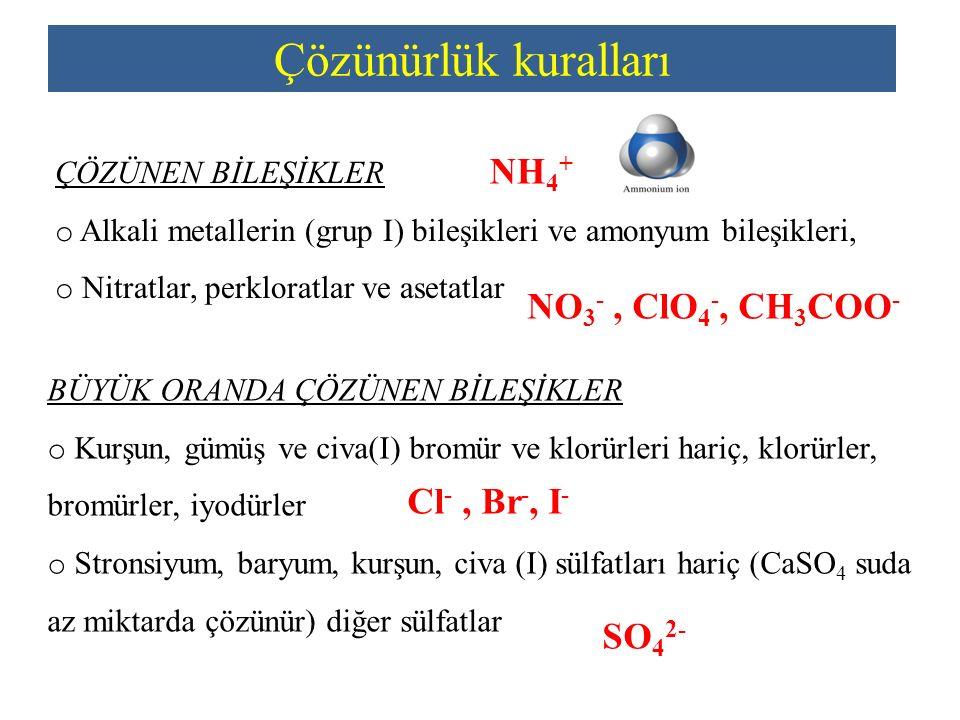 Çözünürlük kuralları NH4+ NO3- , ClO4-, CH3COO- Cl- , Br-, I- SO42-