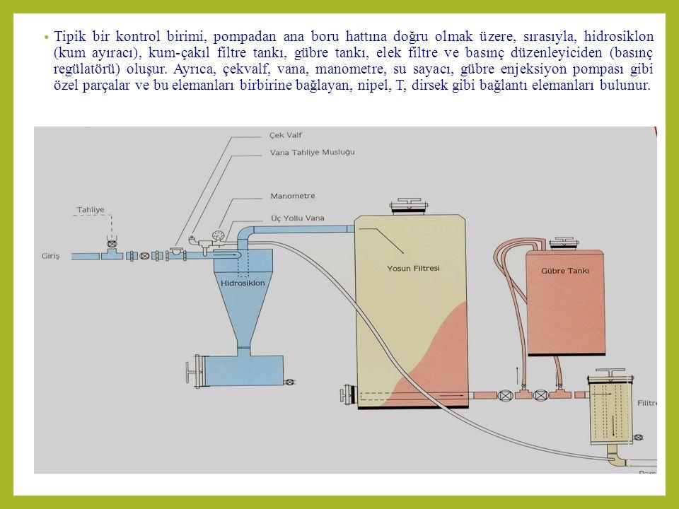 Tipik bir kontrol birimi, pompadan ana boru hattına doğru olmak üzere, sırasıyla, hidrosiklon (kum ayıracı), kum-çakıl filtre tankı, gübre tankı, elek filtre ve basınç düzenleyiciden (basınç regülatörü) oluşur.