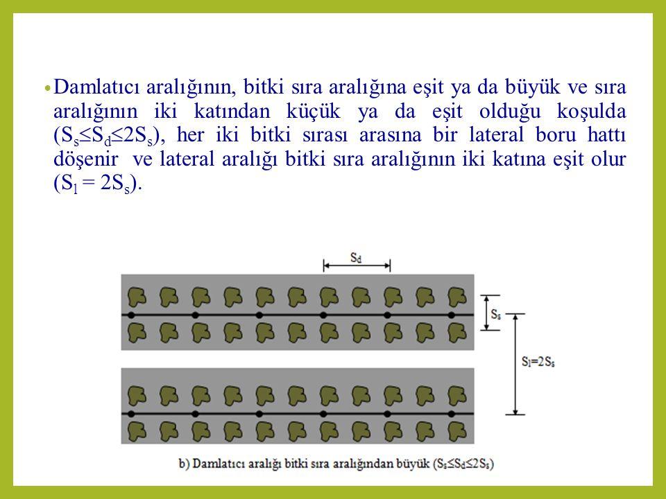 Damlatıcı aralığının, bitki sıra aralığına eşit ya da büyük ve sıra aralığının iki katından küçük ya da eşit olduğu koşulda (SsSd2Ss), her iki bitki sırası arasına bir lateral boru hattı döşenir ve lateral aralığı bitki sıra aralığının iki katına eşit olur (Sl = 2Ss).