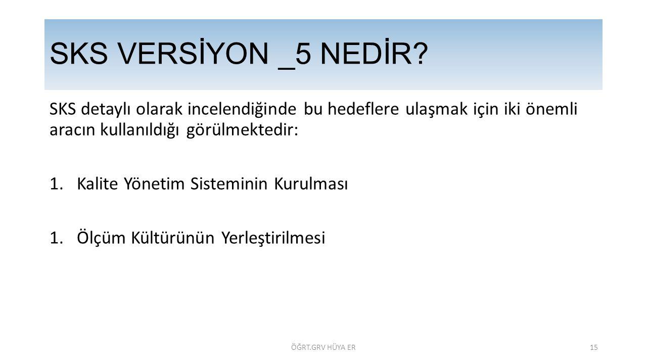 SKS VERSİYON _5 NEDİR SKS detaylı olarak incelendiğinde bu hedeflere ulaşmak için iki önemli aracın kullanıldığı görülmektedir: