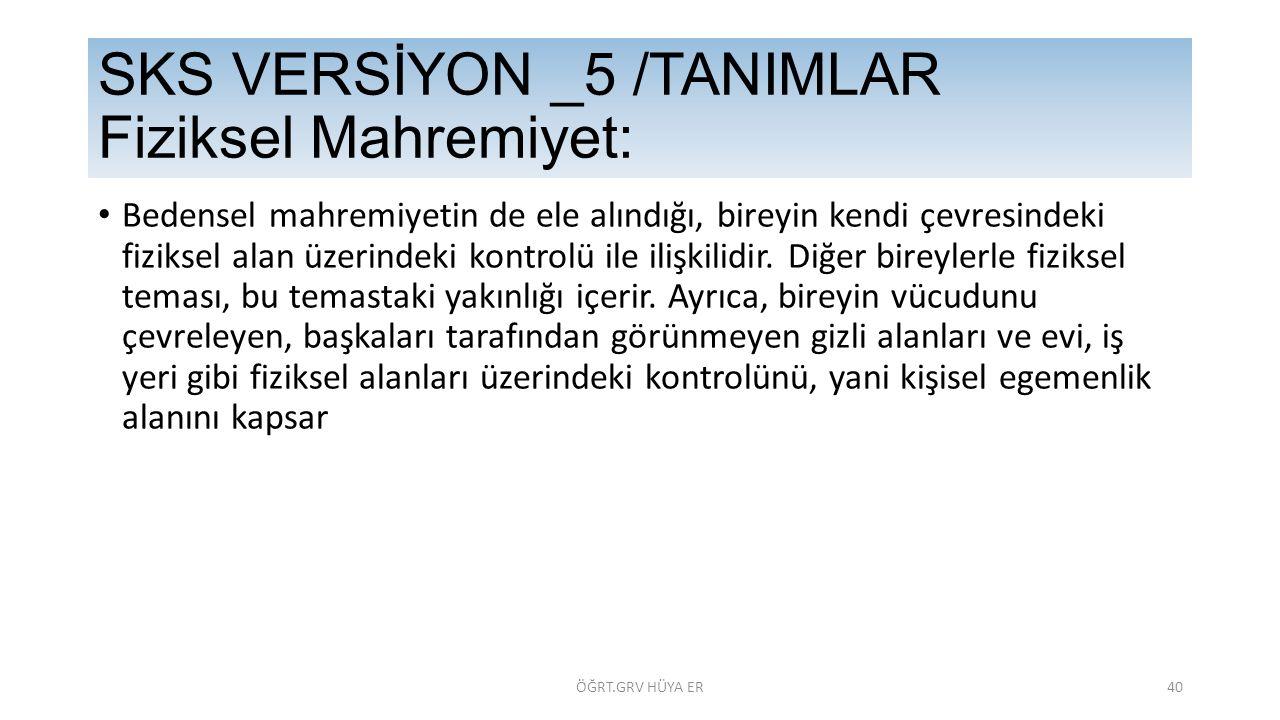 SKS VERSİYON _5 /TANIMLAR Fiziksel Mahremiyet: