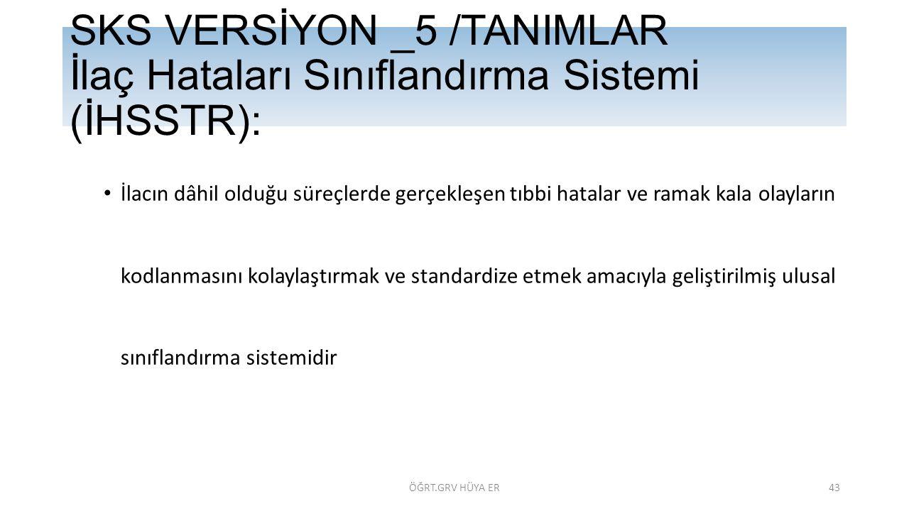 SKS VERSİYON _5 /TANIMLAR İlaç Hataları Sınıflandırma Sistemi (İHSSTR):