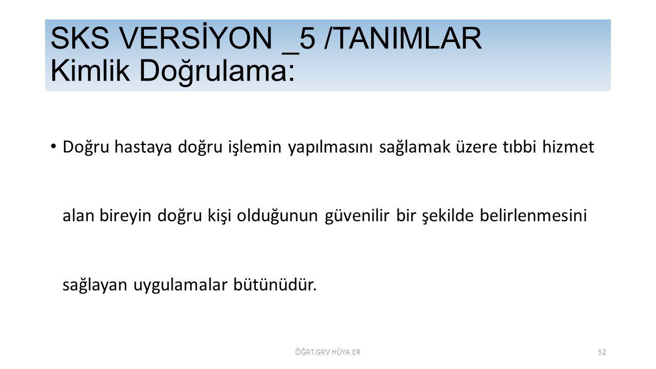 SKS VERSİYON _5 /TANIMLAR Kimlik Doğrulama: