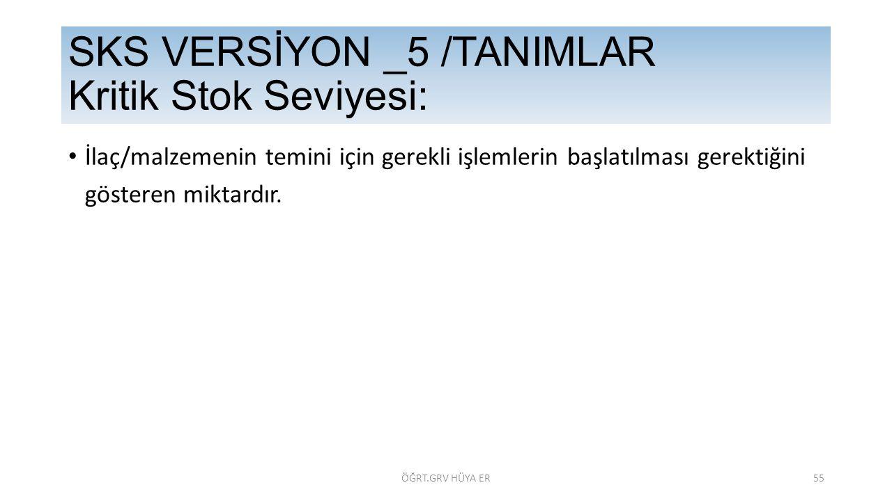 SKS VERSİYON _5 /TANIMLAR Kritik Stok Seviyesi: