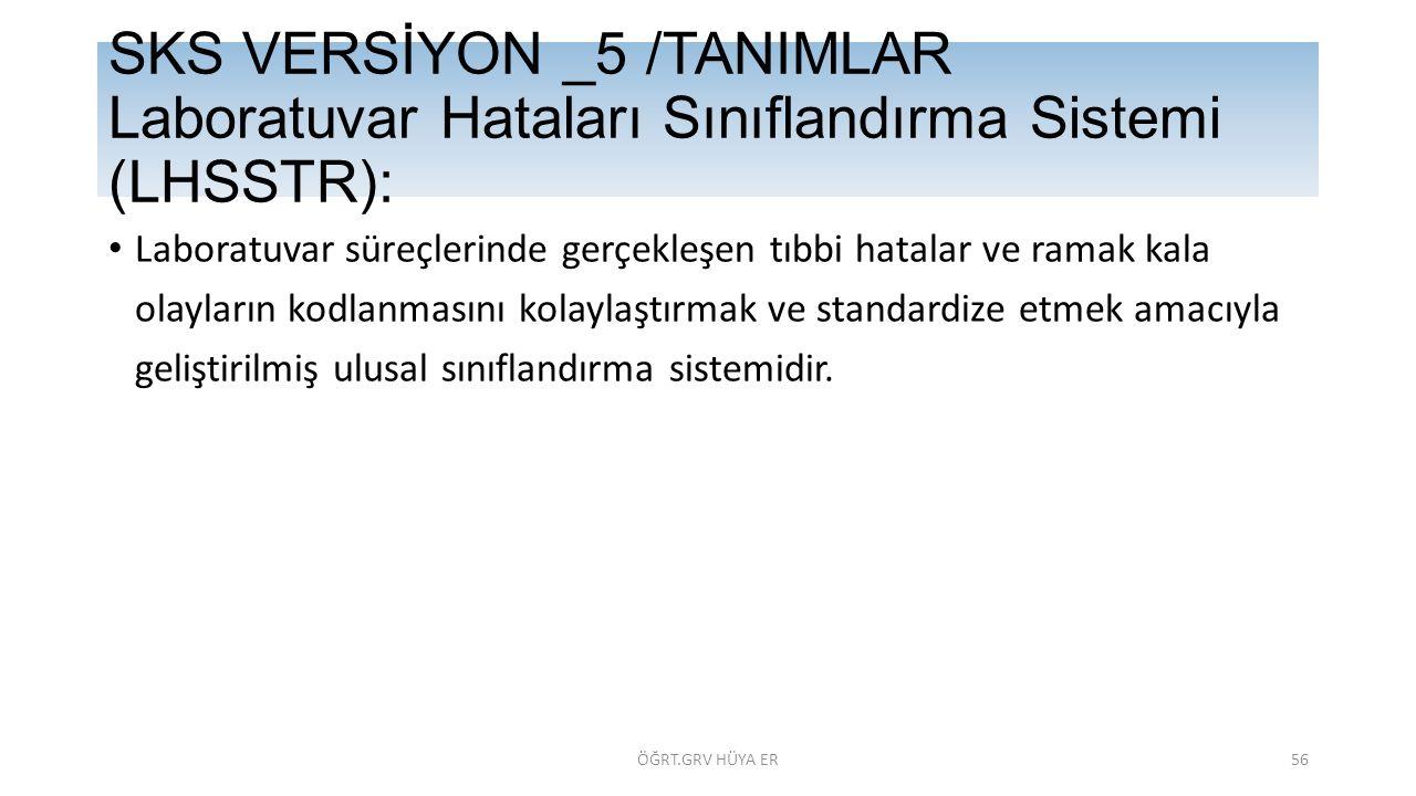 SKS VERSİYON _5 /TANIMLAR Laboratuvar Hataları Sınıflandırma Sistemi (LHSSTR):