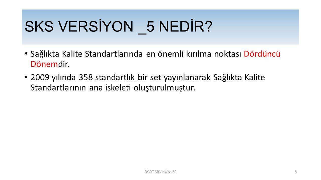 SKS VERSİYON _5 NEDİR Sağlıkta Kalite Standartlarında en önemli kırılma noktası Dördüncü Dönemdir.