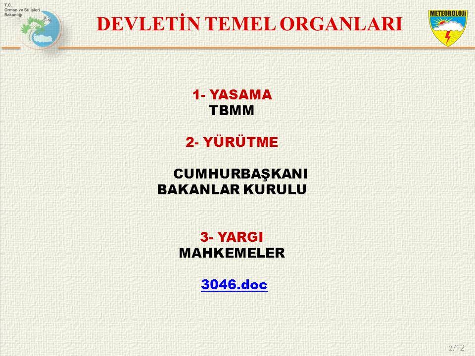 DEVLETİN TEMEL ORGANLARI