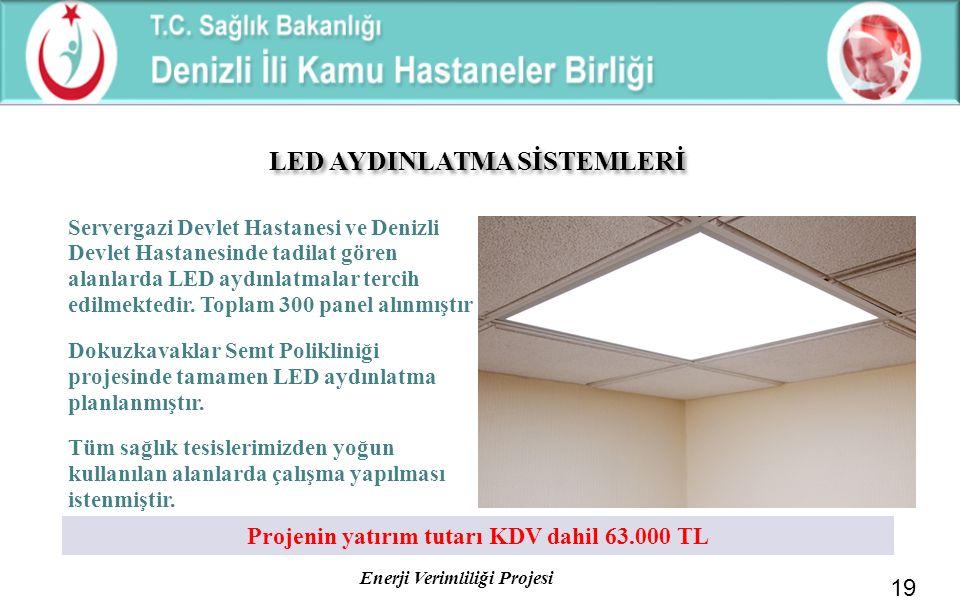 LED AYDINLATMA SİSTEMLERİ Projenin yatırım tutarı KDV dahil 63.000 TL