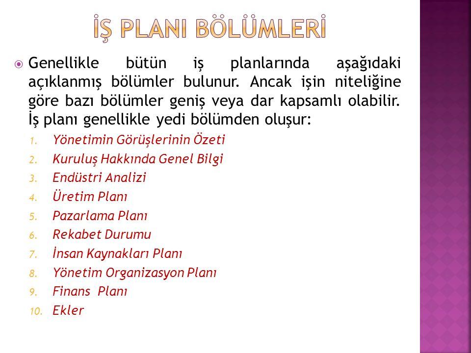 İŞ PLANI BÖLÜMLERİ