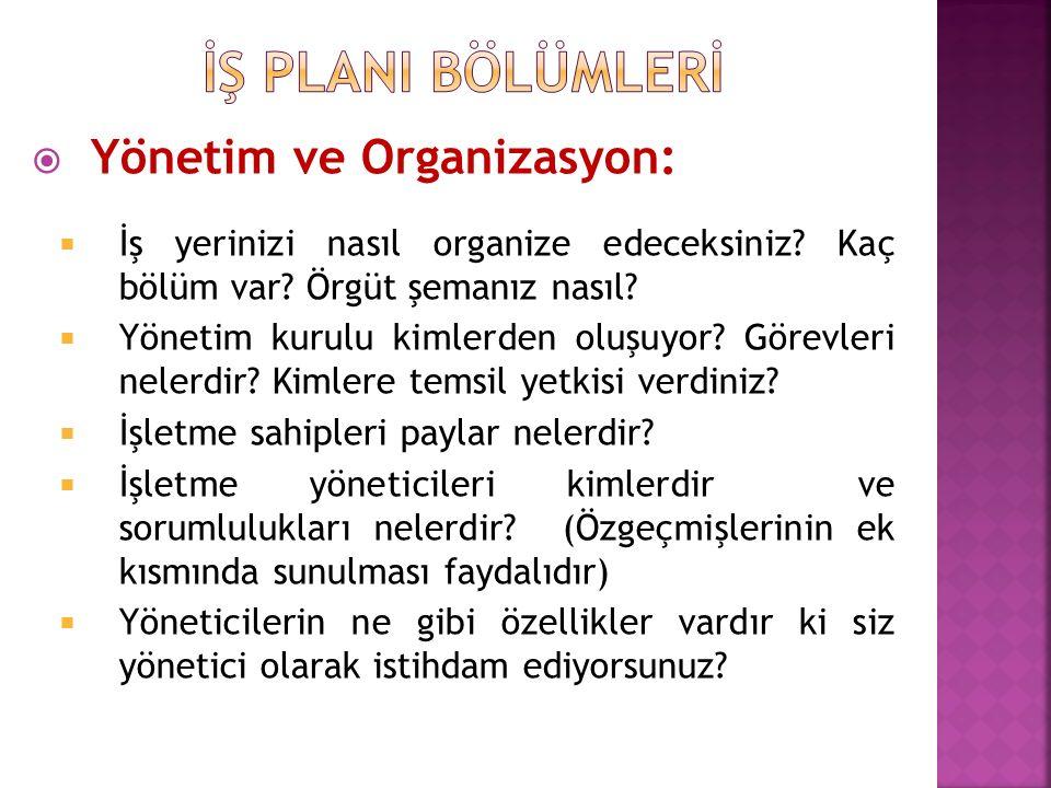 İŞ PLANI BÖLÜMLERİ Yönetim ve Organizasyon:
