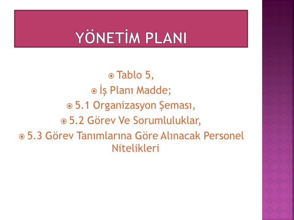 YÖNETİM PLANI Tablo 5, İş Planı Madde; 5.1 Organizasyon Şeması,