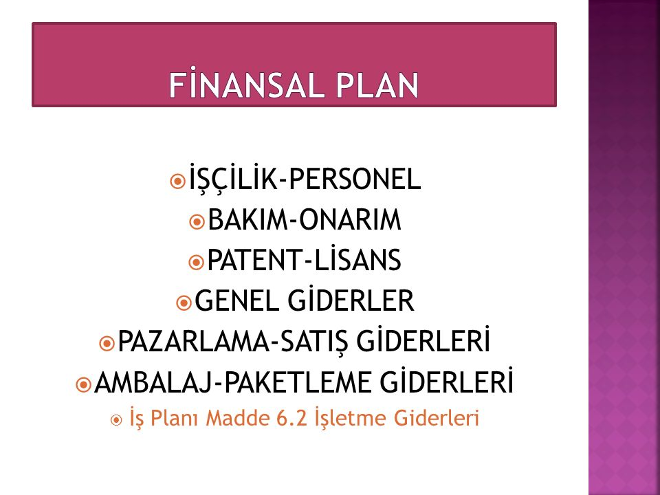 FİNANSAL PLAN İŞÇİLİK-PERSONEL BAKIM-ONARIM PATENT-LİSANS