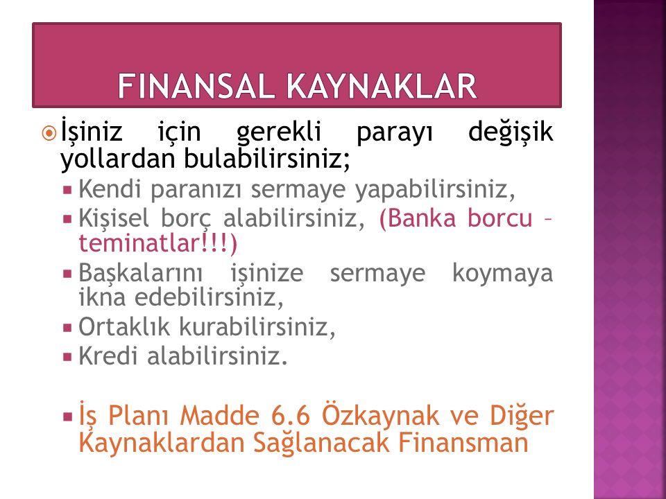 Finansal Kaynaklar İşiniz için gerekli parayı değişik yollardan bulabilirsiniz; Kendi paranızı sermaye yapabilirsiniz,