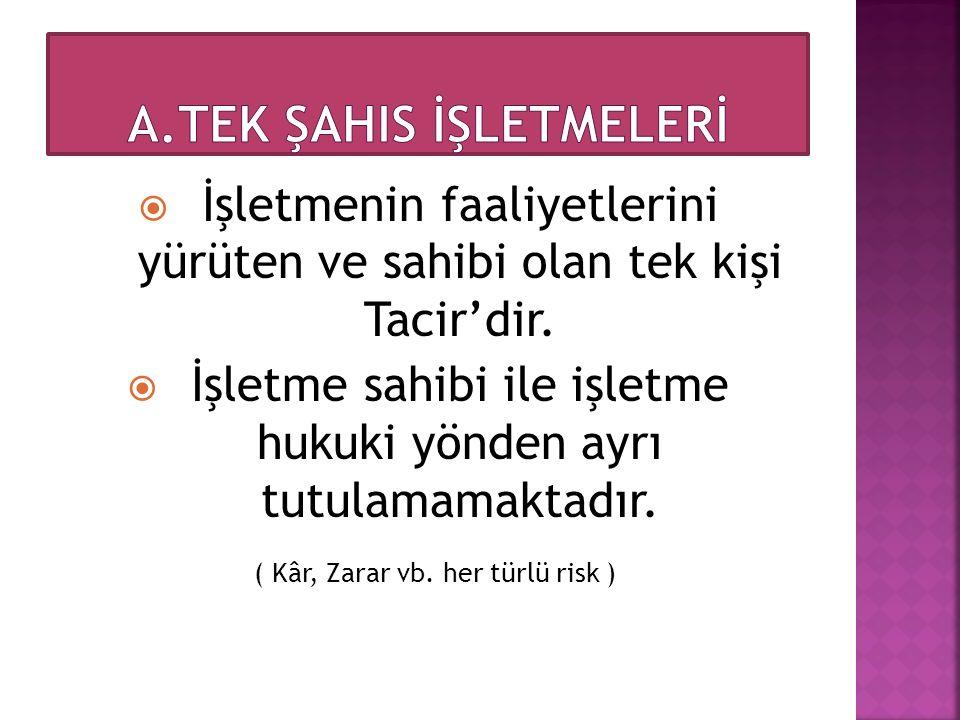 A.TEK ŞAHIS İŞLETMELERİ