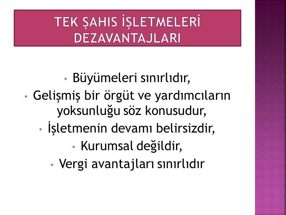 TEK ŞAHIS İŞLETMELERİ DEZAVANTAJLARI